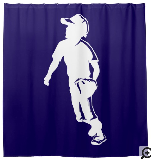 Youth League Baseball Fielder Shower Curtain