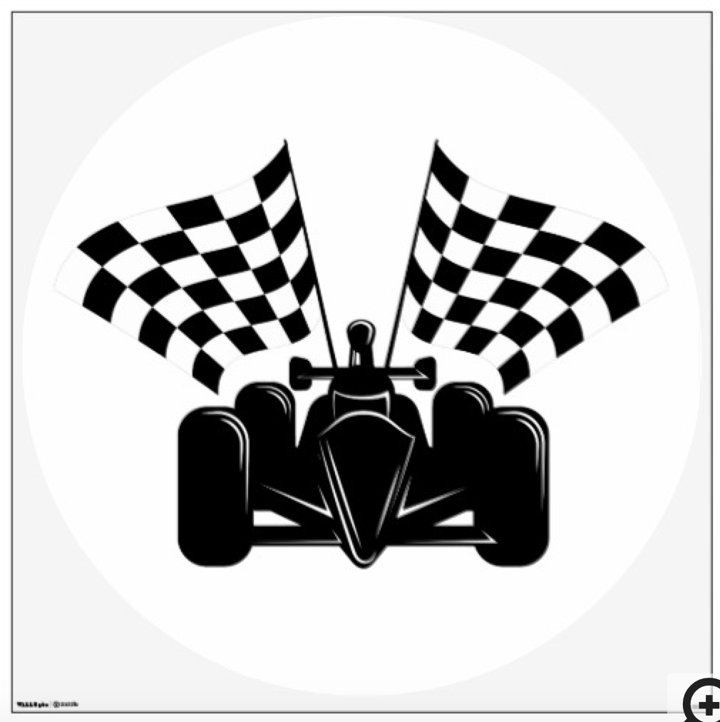 Indy style of race car with checked flags wall decal