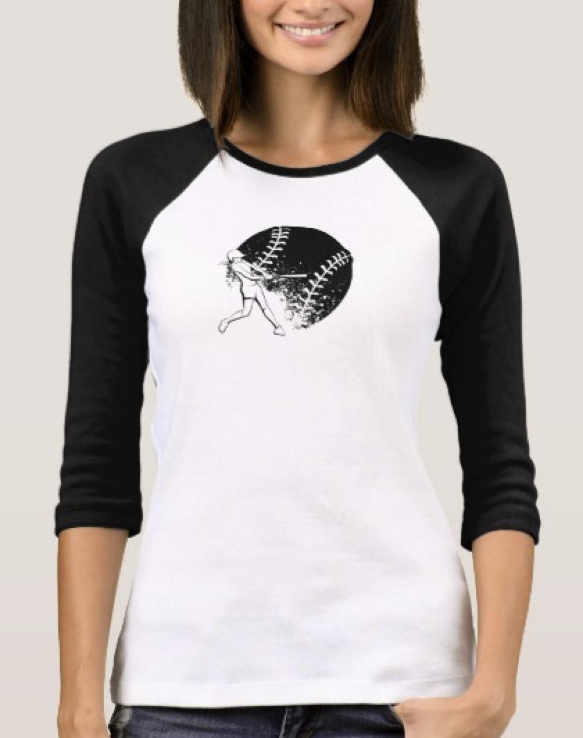 Girl Softball Batter Women's Jersey T-shirt