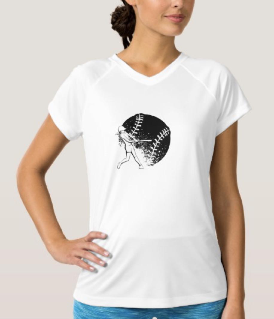 Girl Softball Batter Women's V-Neck T-Shirt
