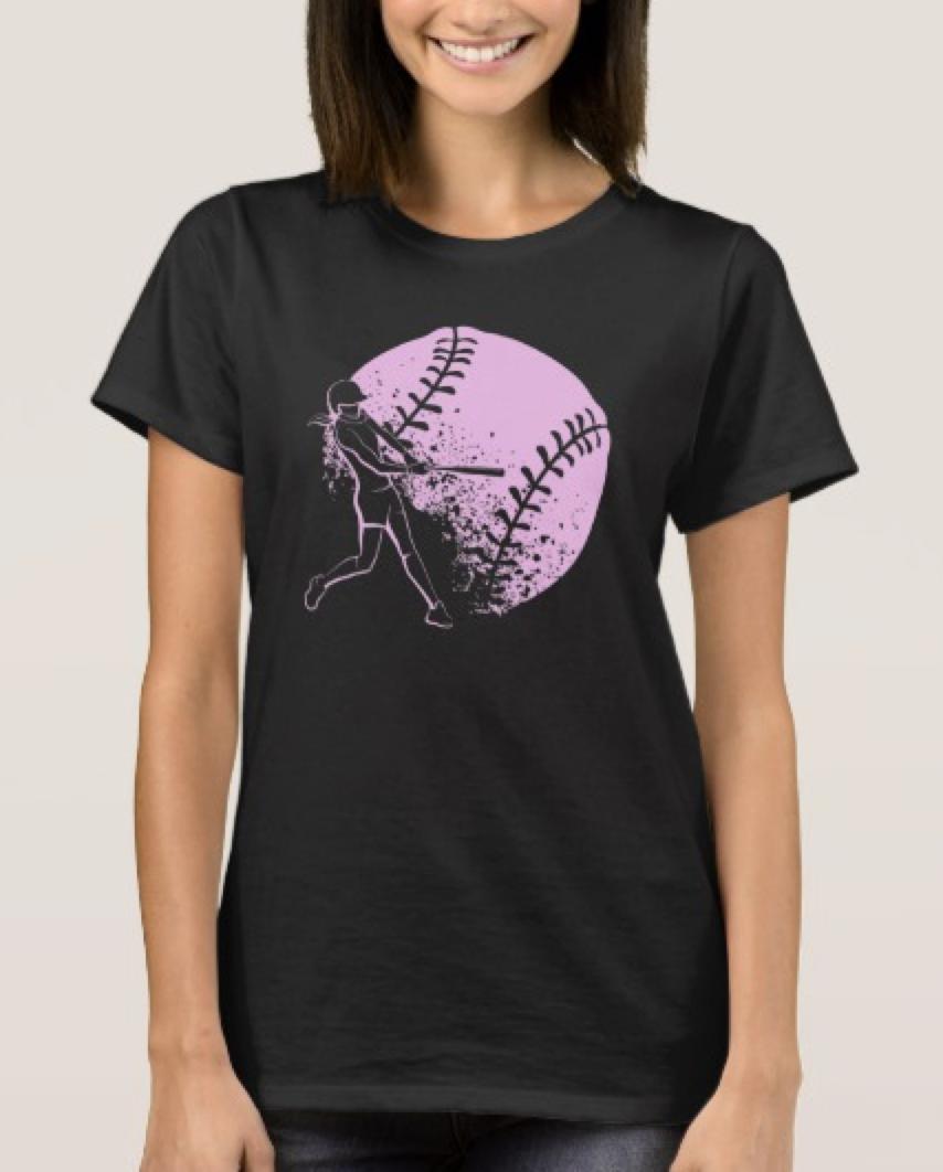 Softball Batter with Grunge Ball T-Shirt