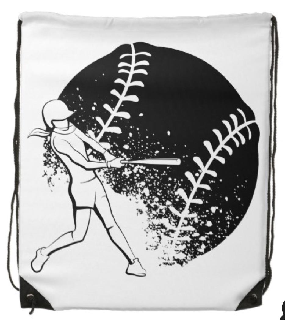 Softball Batter with Grunge Ball Drawstring Bag