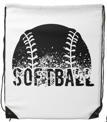 Grunge Softball Drawstring Backpack