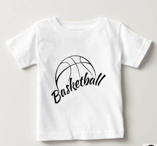 Basketball Stylized Design with Fun Font Baby T-Shirt