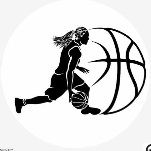 Girl Basketball Silhouette Dribbling Wall Sticker