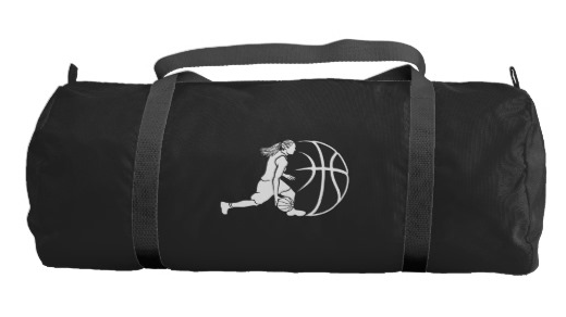 Girl Basketball Silhouette Dribbling Duffle Bag