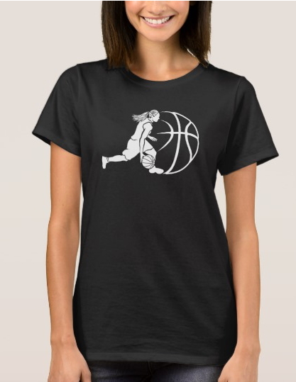 Girl Basketball Silhouette Dribbling T-Shirt