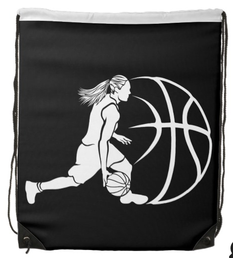 Girl Basketball Silhouette Drawstring Bag