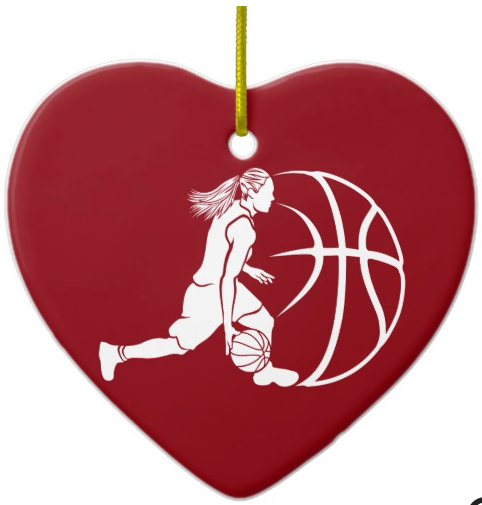 Girl Basketball Silhouette Dribbling Ceramic Ornament