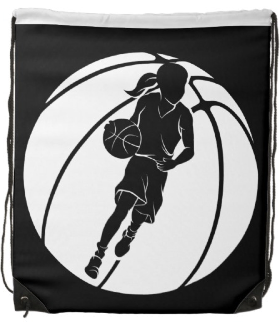 Girl Dribbling in Front of Basketball Backpack