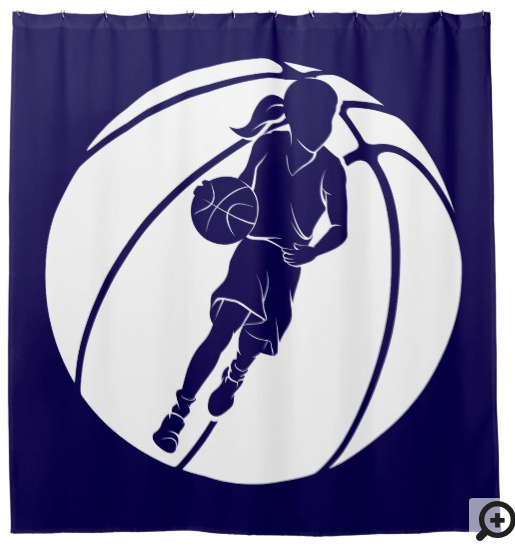 Basketball Girl Dribbling in Basketball Shower Curtain