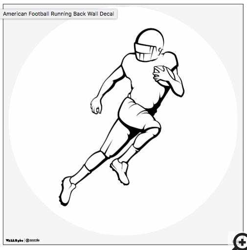 American Football Running Back Wall Decal