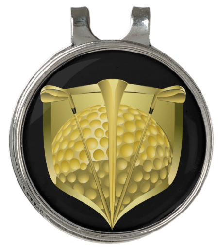 Gold Golf Shield Golf Hat Clip