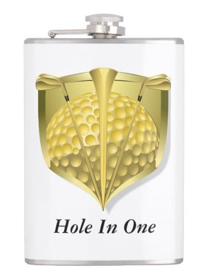 Gold Golf Shield Hip Flask