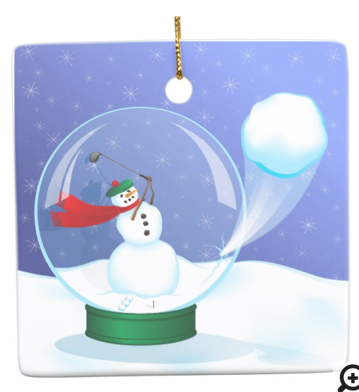 Snowman Golfer in a Snow Globe Ceramic Ornament