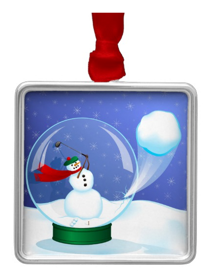 Snowman Golfer in a Snow Globe Metal Ornament
