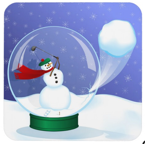 Golf Snowman Snow Globe Coaster