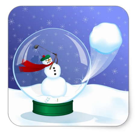 Golf Snowman Snow Globe Stickers