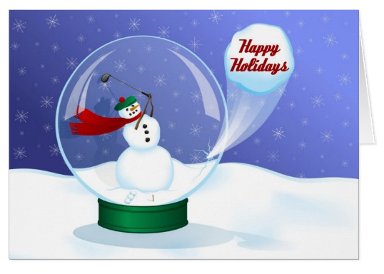 Golf Snowman Snow Globe Card