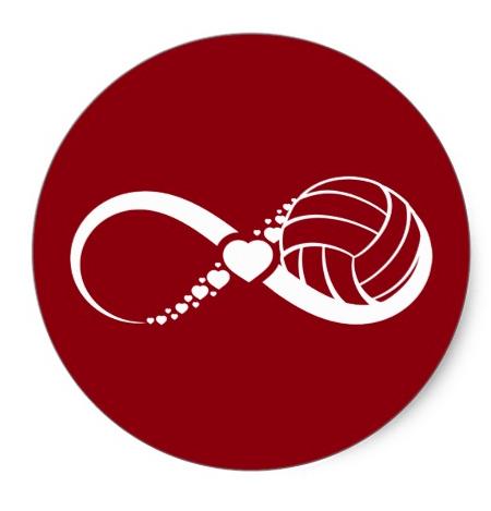 Volleyball Love Infinity Classic Round Sticker