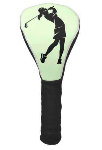 Girl Golfer Swinging an Iron Golf Head Cover