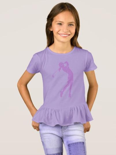 Girl Golfer Swinging an Iron T-Shirt