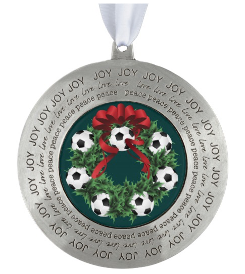 Soccer Christmas Wreath Pewter Ornament