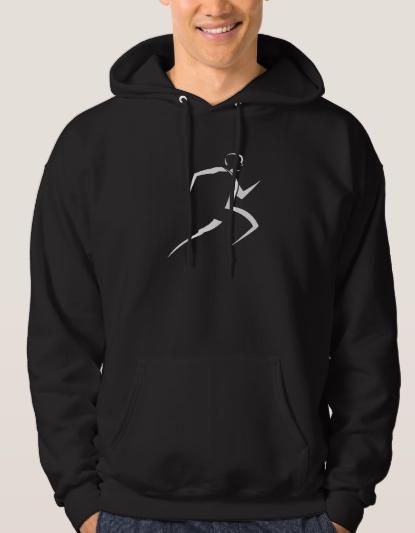 Stylized Male Runner Dark Hoodie