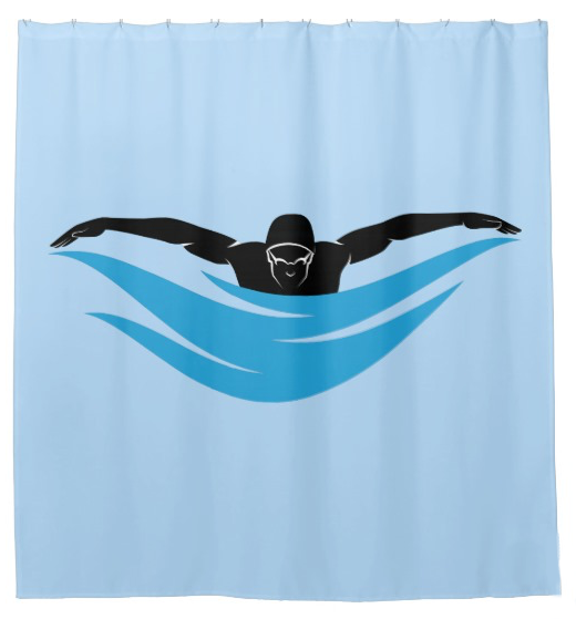 Male Butterfly Swimmer Shower Curtain