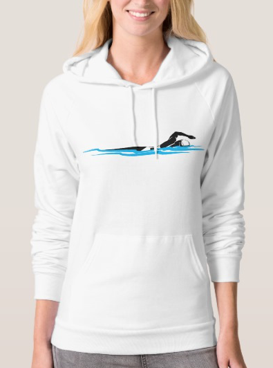 Stylized Woman Swimming Women's Light Hoodie