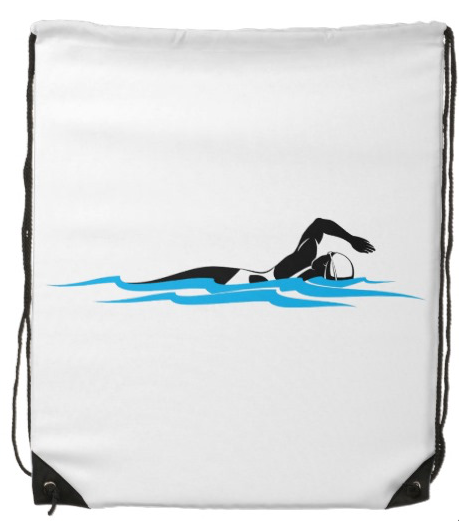 Woman Freestyle Swimmer Drawstring Backpack