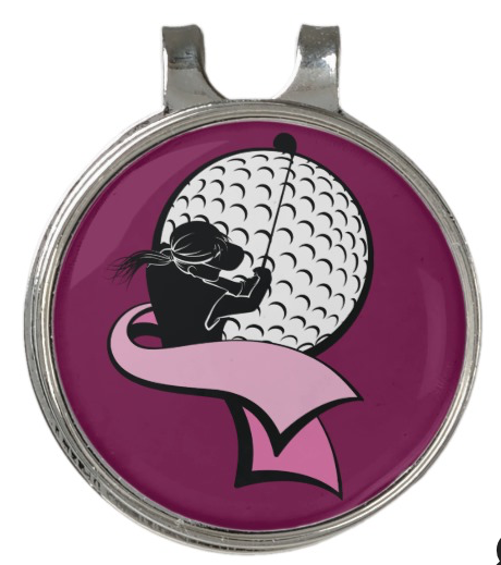 Female Golfer with Pink Ribbon Golf Hat Clip