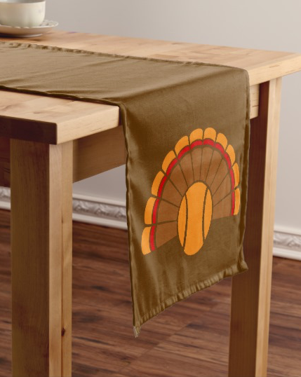 Thanksgiving Tennis Turkey Tail Short Table Runner