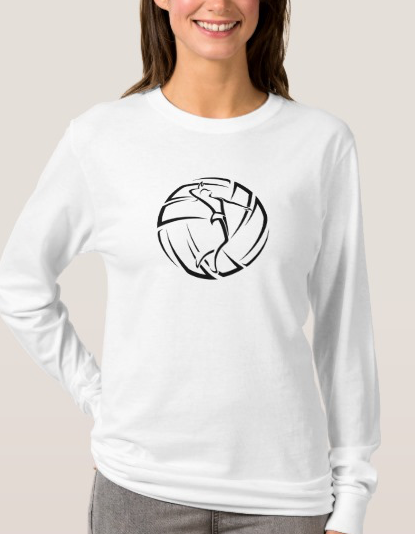Stylized Female Volleyball Player with Ball T-Shirt
