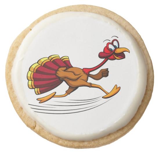 Thanksgiving Turkey Running Round Shortbread Cookie
