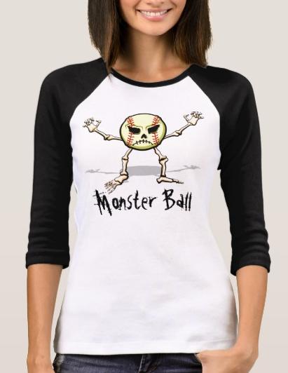 Softball Monster Ball Jersey Style Women's T-shirt
