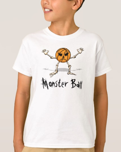 Basketball Monster Halloween Ball kids t-shirt