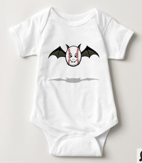 Halloween Baseball Vampire Bat Baby Bodysuit