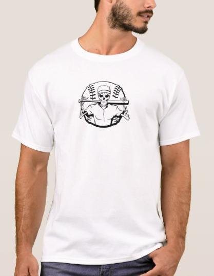 Halloween Skeleton Baseball Batter T-Shirt
