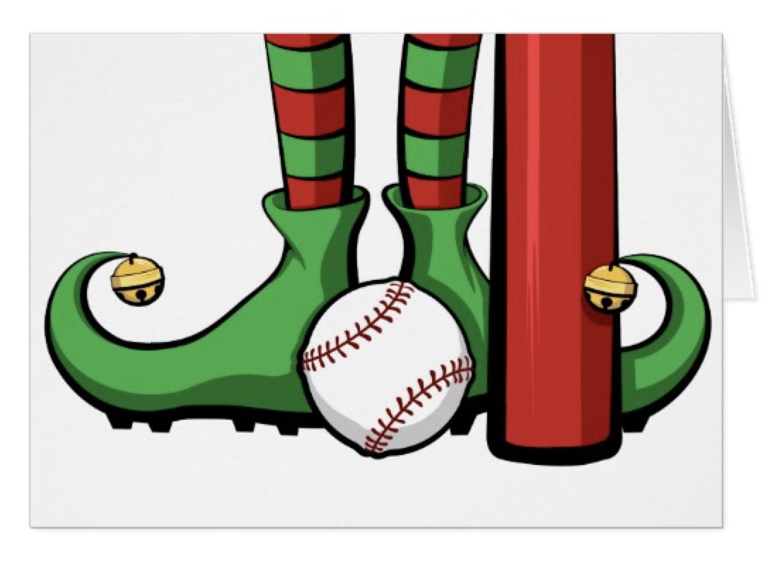 Baseball Christmas Elf Feet Card