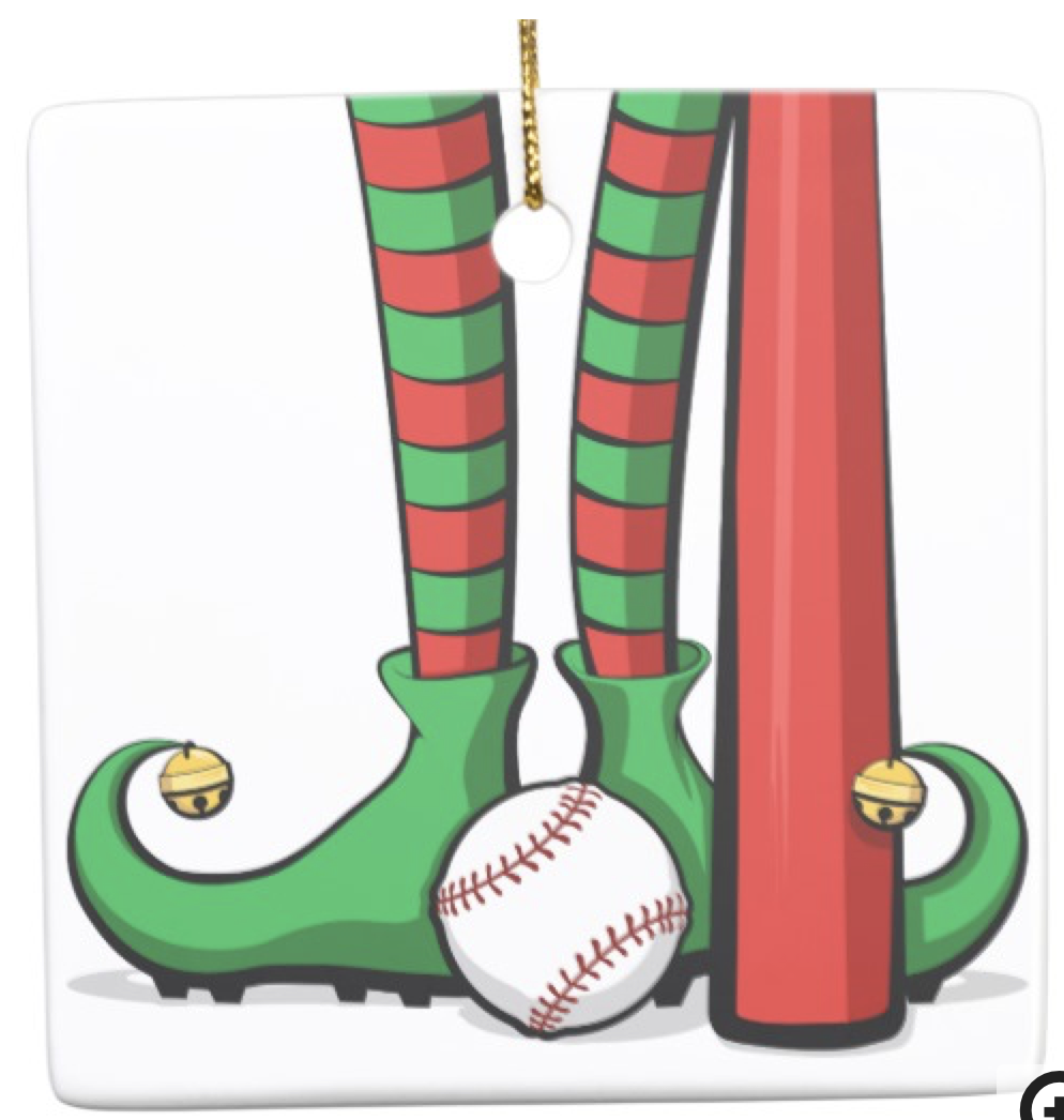 Baseball Christmas Elf Feet Ceramic Ornament