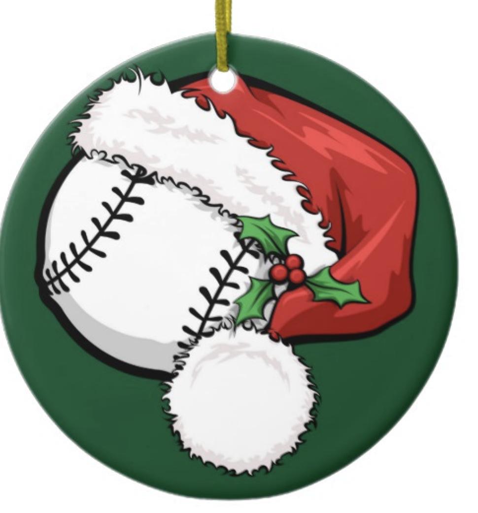 Baseball Santa Cap with Green Ornament