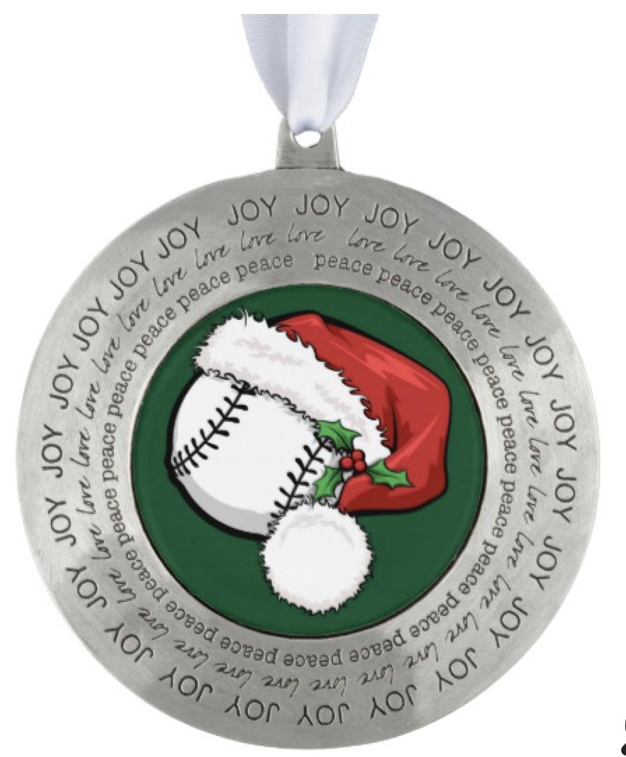 Christmas Baseball Santa Cap Ornament