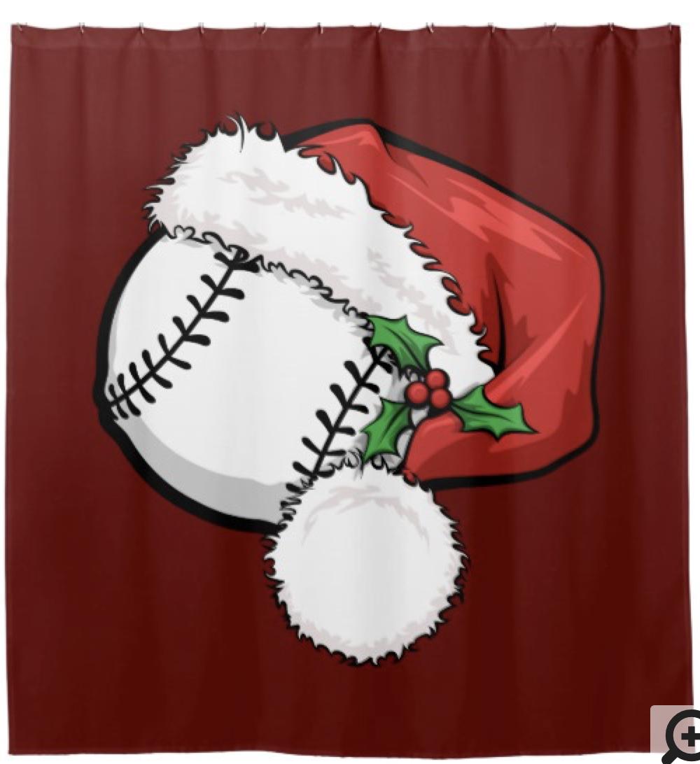 Baseball Santa Cap for Christmas Shower Curtain