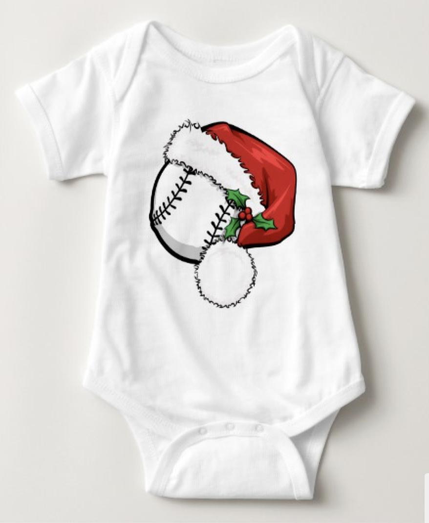 Baseball Santa Cap Baby Bodysuit