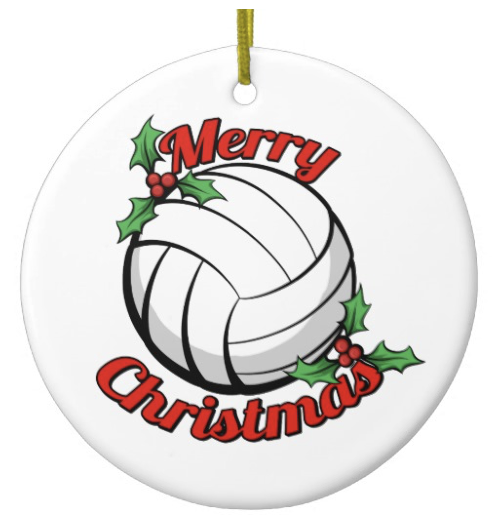Volleyball Merry Christmas Ceramic Ornament