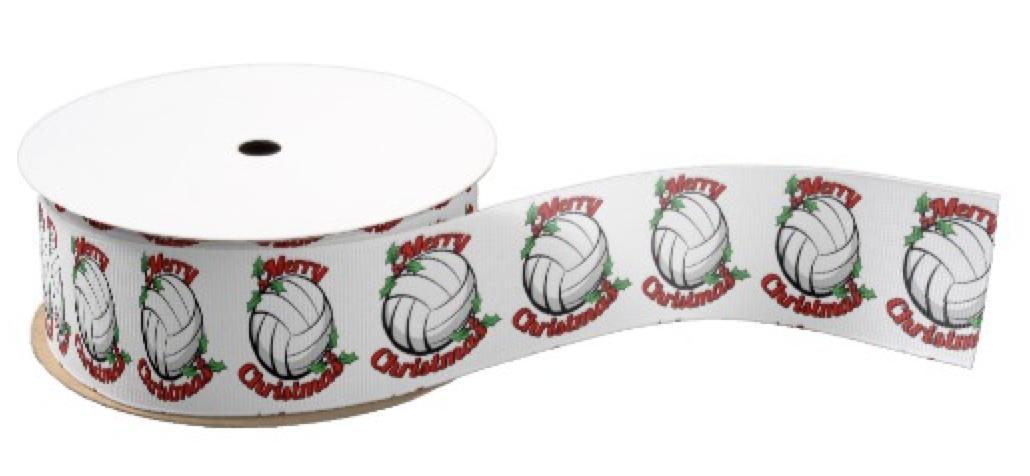 Volleyball Merry Christmas Grosgrain Ribbon