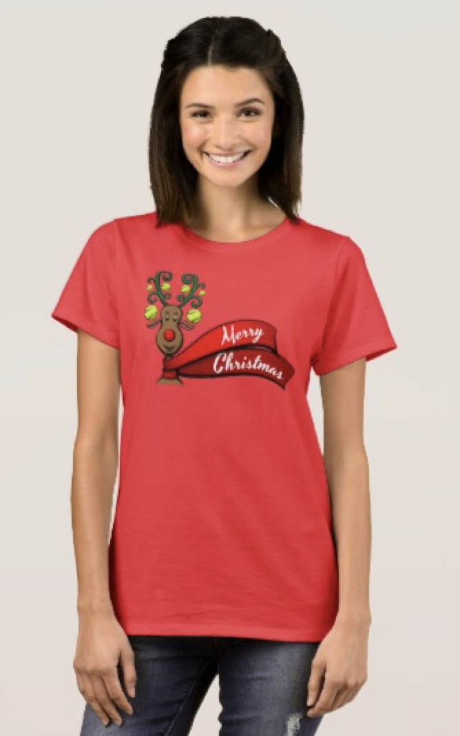 Tennis Christmas Reindeer T-Shirt