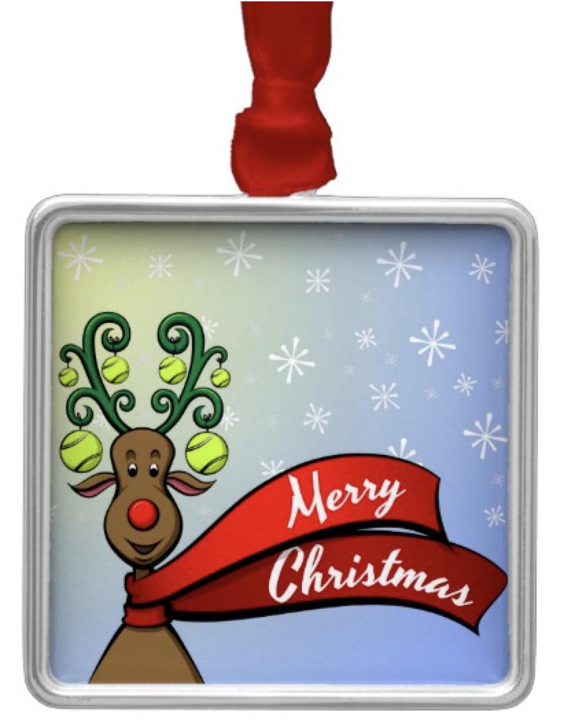 Tennis Christmas Reindeer Metal Ornament