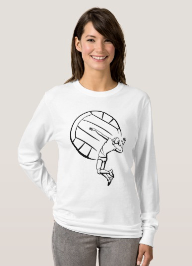 Female Volleyball Player Spiking T-Shirt